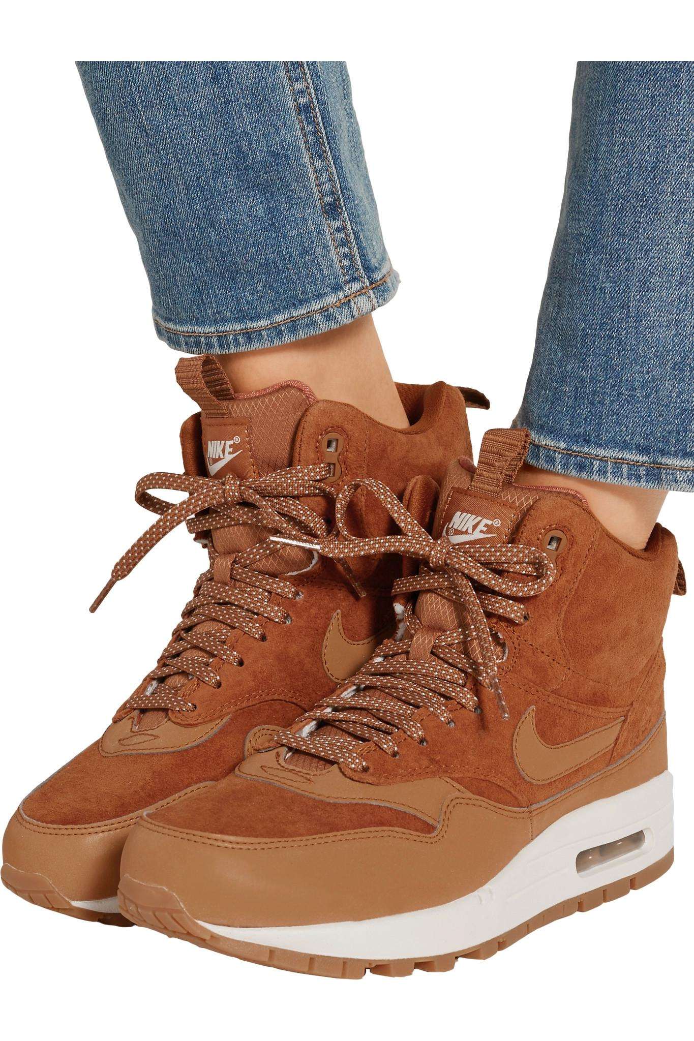 Nike - Air Max 1 Suede And Leather High-top Sneakers - Tan in Brown