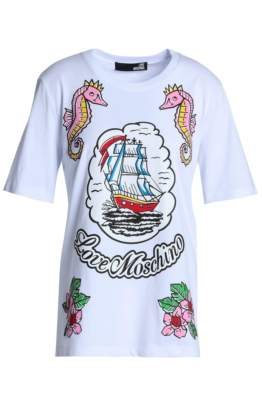 779e6341eb Love Moschino - Woman Printed Cotton-jersey T-shirt White - Lyst. View  fullscreen