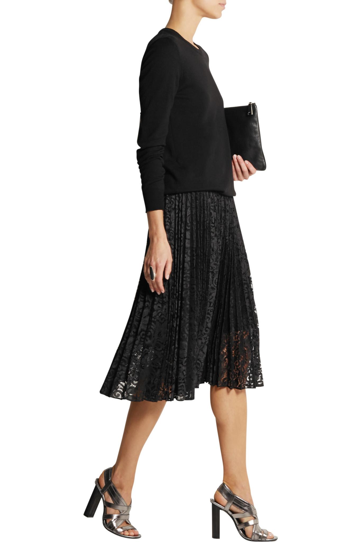 theory zeyn pliss 233 lace midi skirt in black lyst