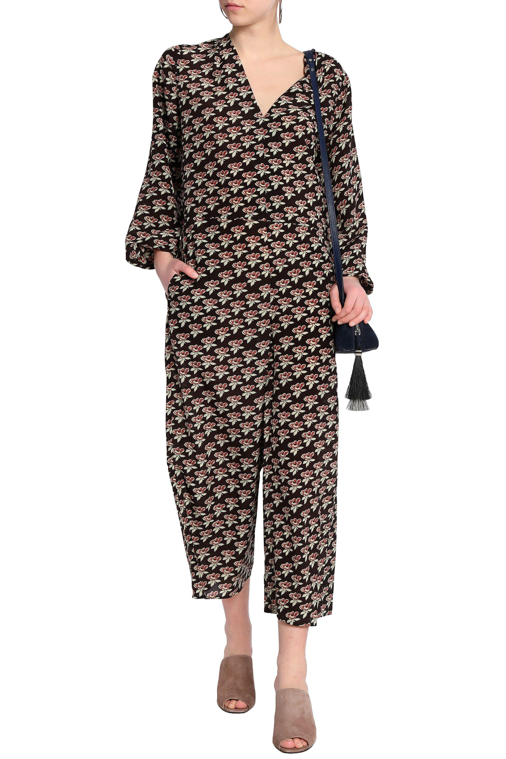 M.i.h Jeans Cropped Floral-print Silk Jumpsuit in Chocolate (Brown)