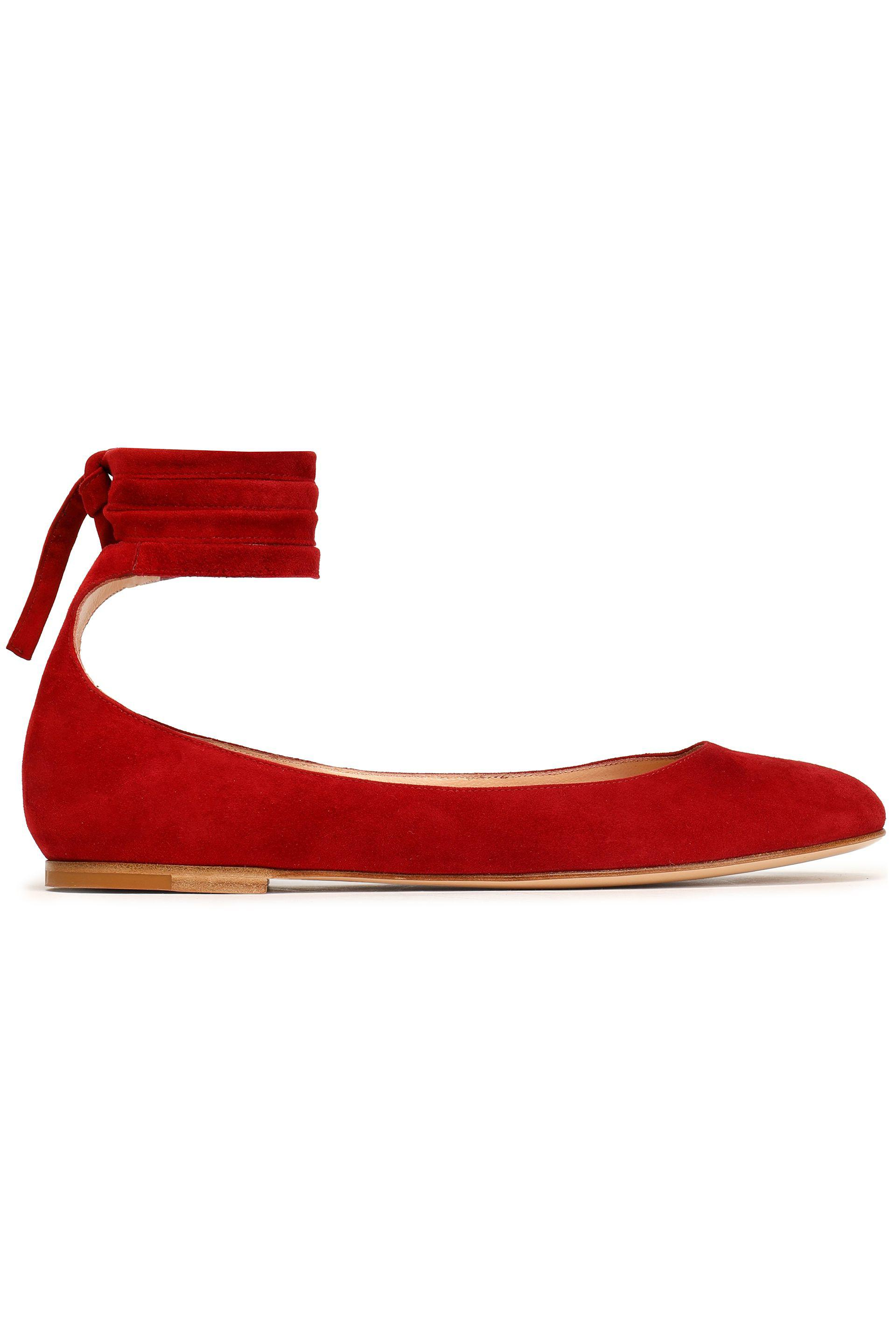 cf5438c61c6d Gianvito Rossi Carla Lace-up Suede Ballet Flats in Red - Lyst