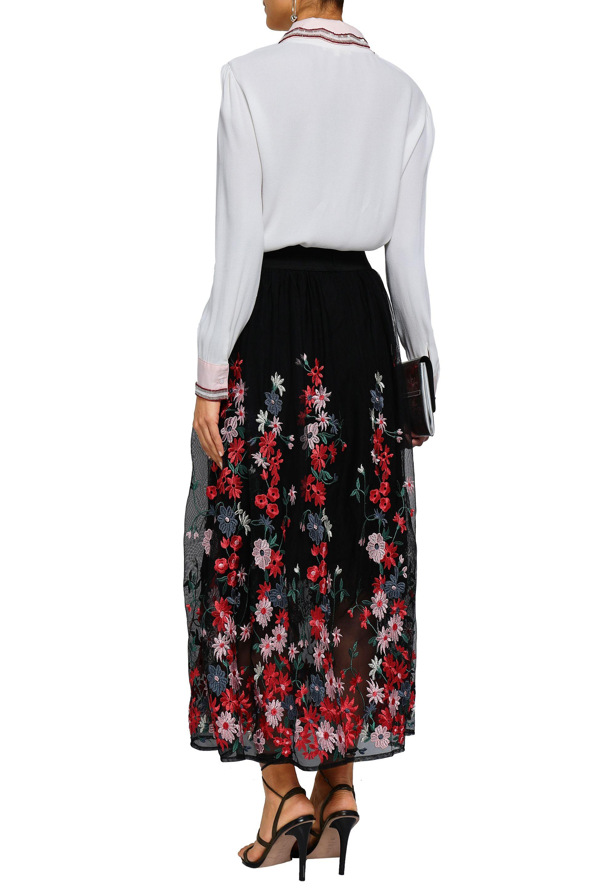3f661638ee Maje Woman Jamie Embroidered Tulle Midi Skirt Black in Black - Lyst