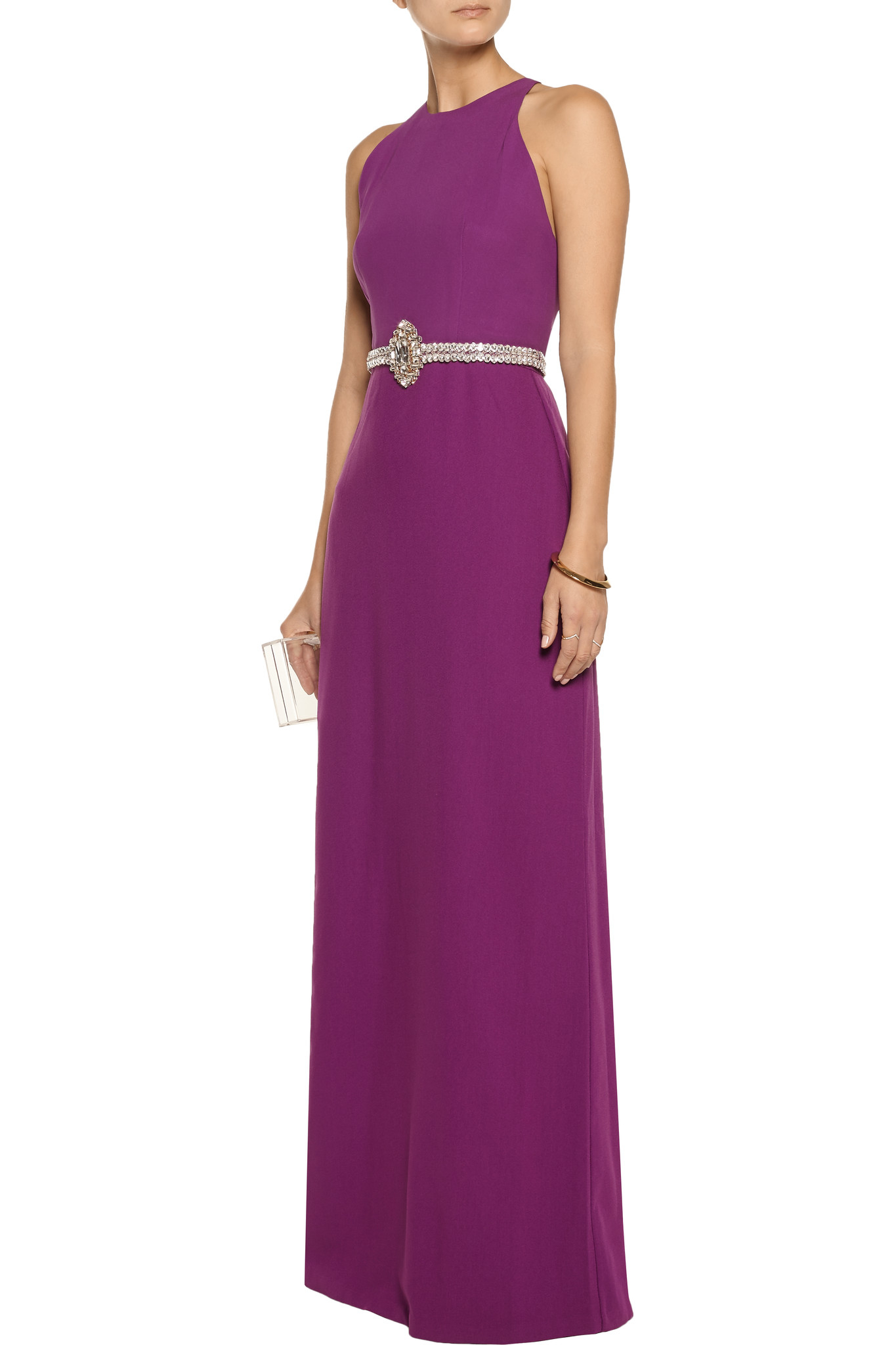 Raoul Synthetic Embellished Crepe Gown in Violet (Purple)
