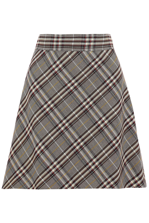 ece2c970b1 Theory Checked Wool Mini Skirt - Lyst