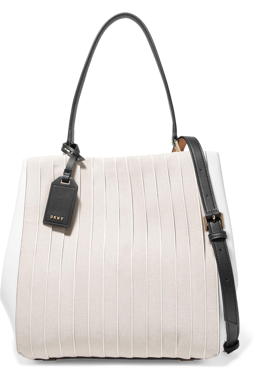 2e8e032a2e DKNY Striped Cotton Canvas And Leather Shoulder Bag - Lyst