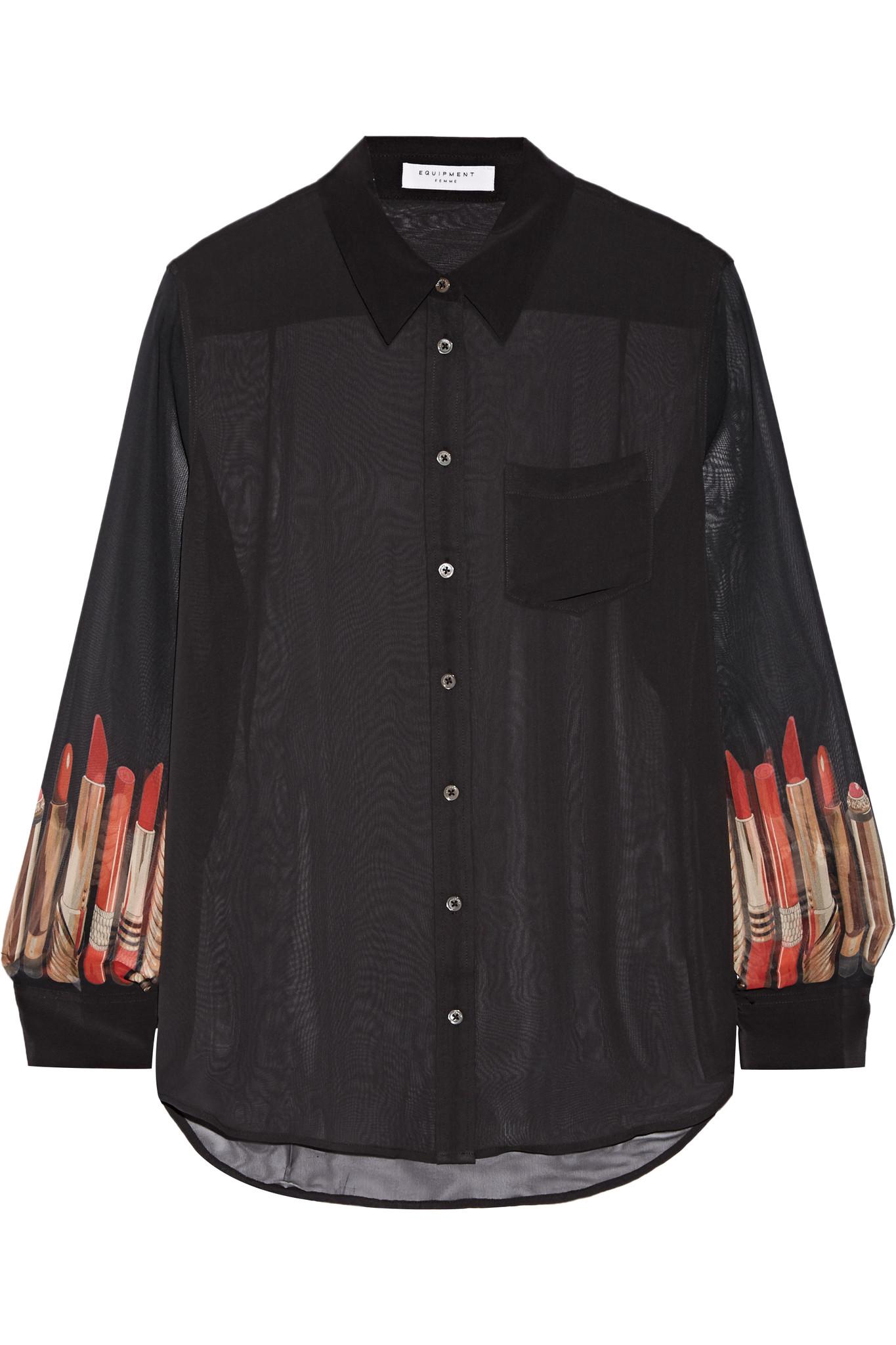 Equipment reese printed silk chiffon shirt in black lyst for Equipment black silk shirt