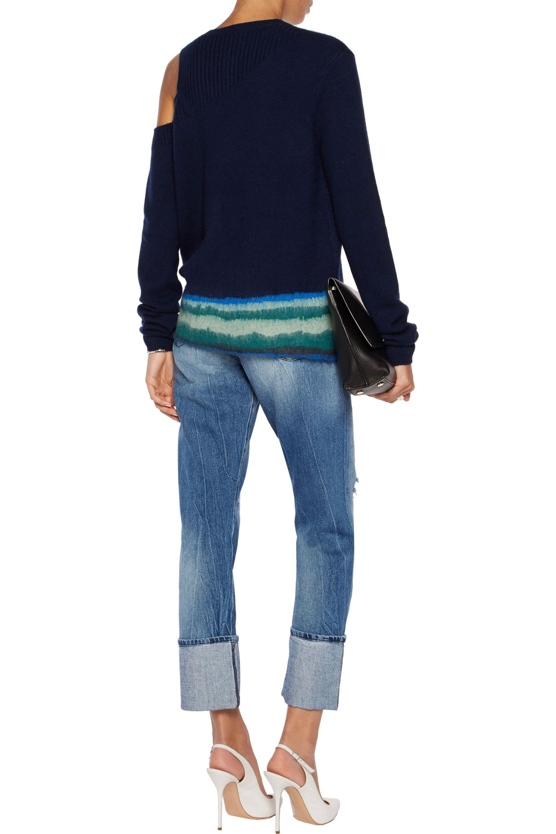 7 For All Mankind Roll Up Straight High-rise Jeans Mid Denim in Blue