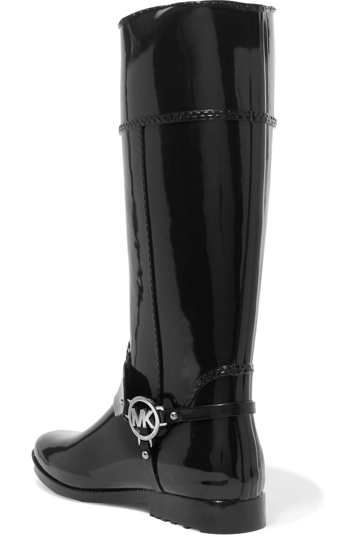 Michael Kors Fulton Harness Rubber Rain Boots in Black
