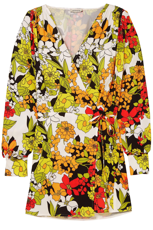 116c1be2 Attico Woman Floral-print Crepe Mini Wrap Dress Multicolor - Lyst