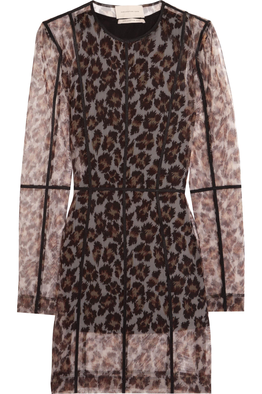 Leopard-print mesh dress Christopher Kane Discount Cheapest Collections Cheap Online 100% Original Cheap Online Cheap Sale Pictures H2FCsV08s