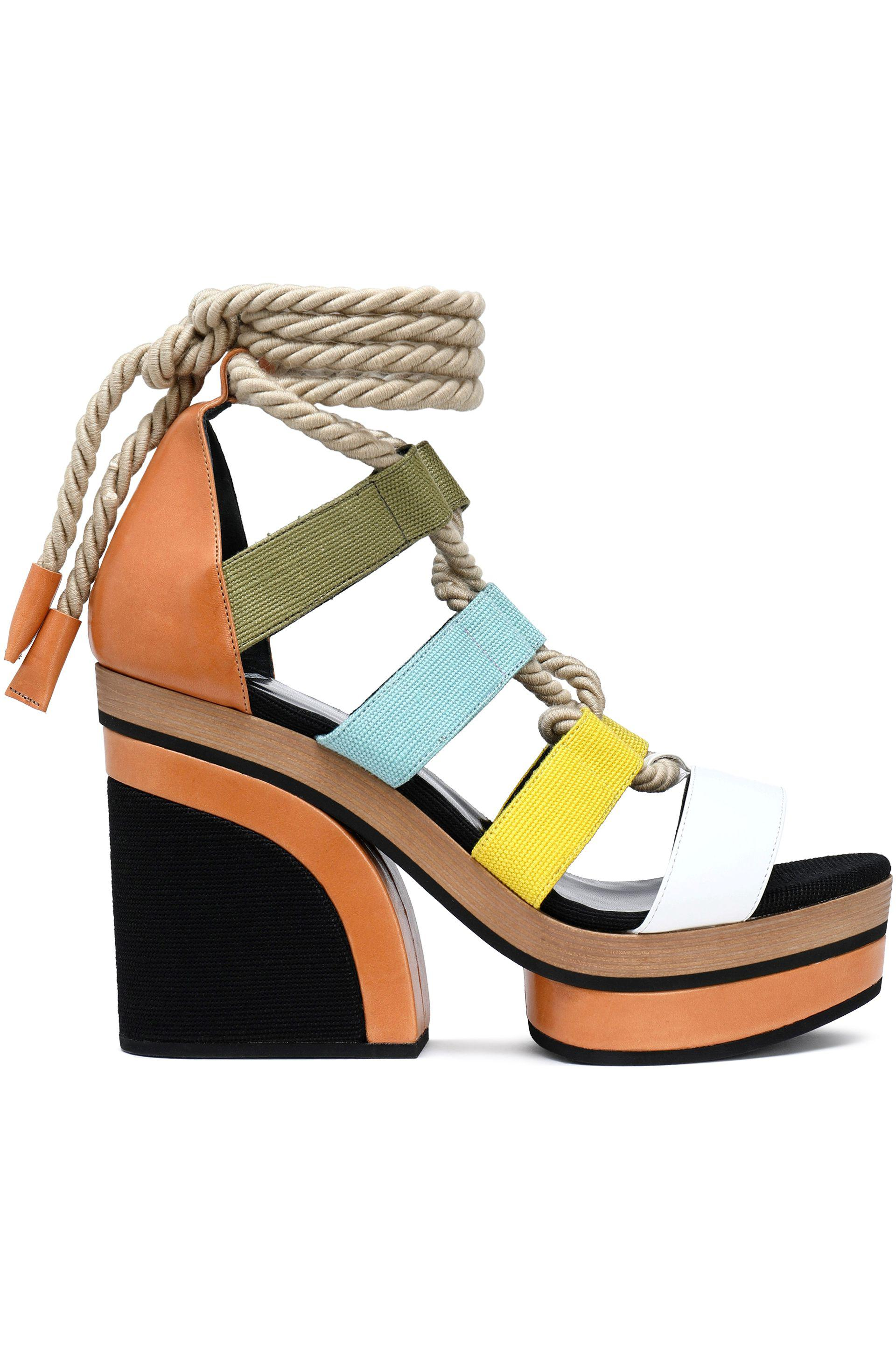 Pierre Hardy Woman Lace-up Color-block Leather And Canvas Platform Sandals Multicolor Size 40 Pierre Hardy MnNfMoa