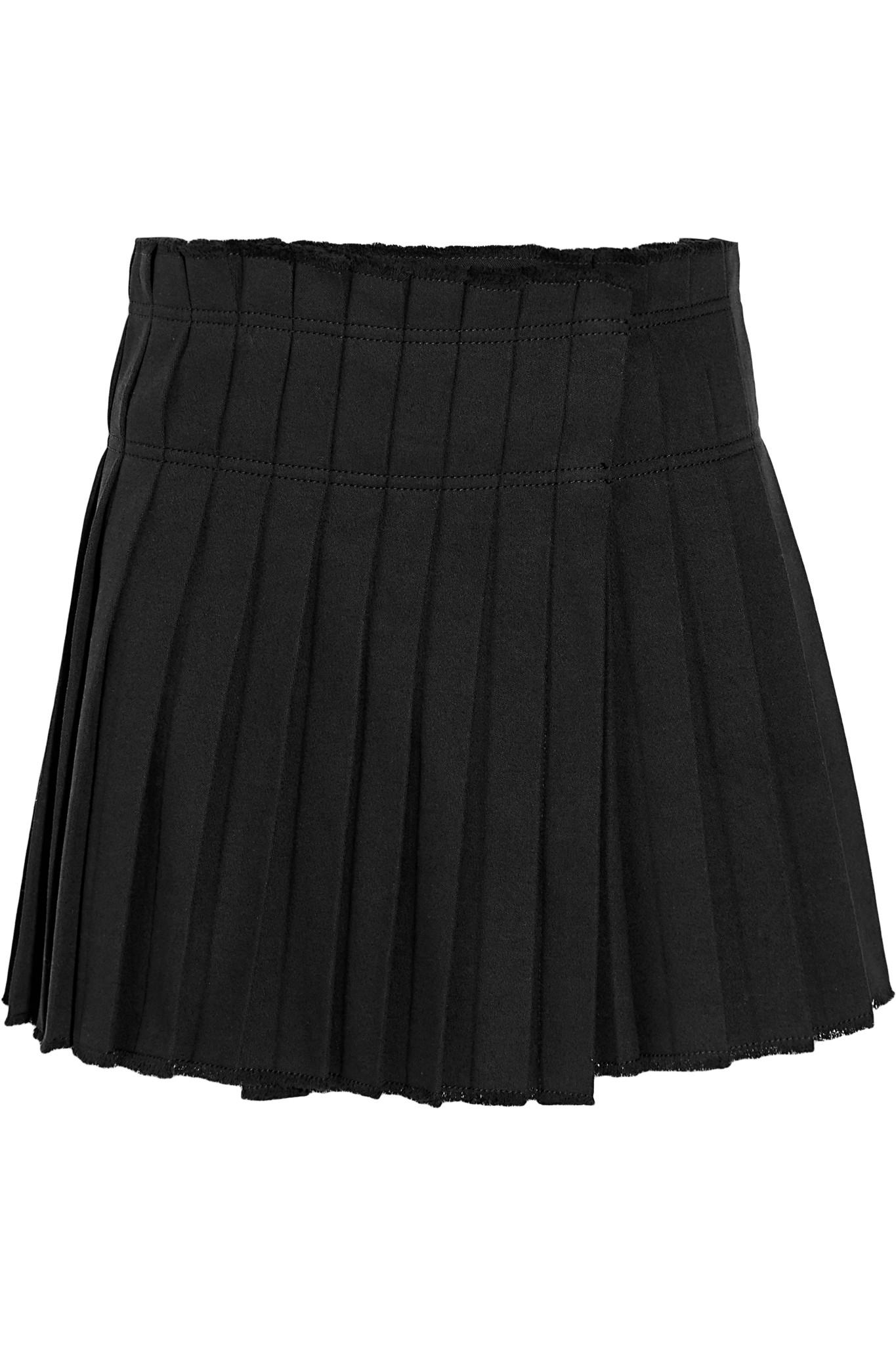 marant kib pleated cotton mini skirt in black lyst