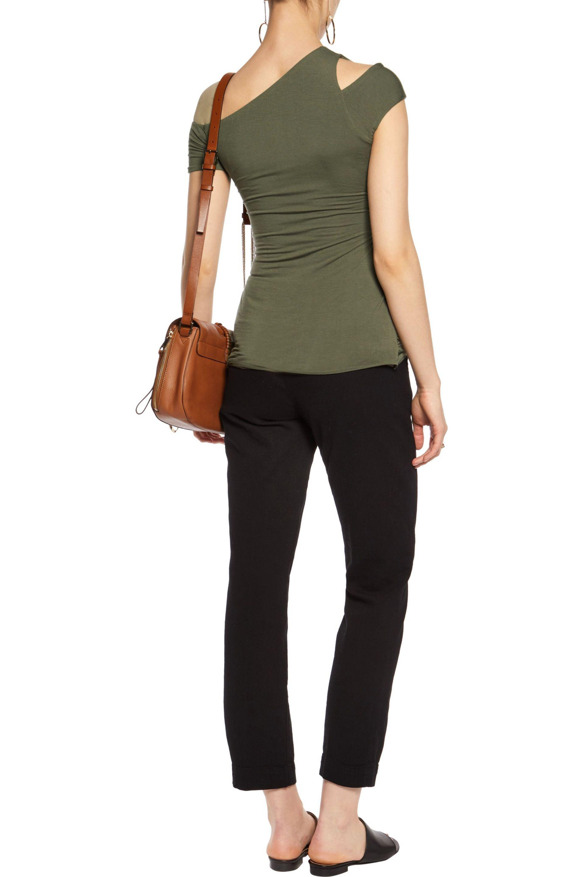 Bailey 44 Synthetic Table Mountain One-shoulder Ruched Stretch-jersey Top Army Green
