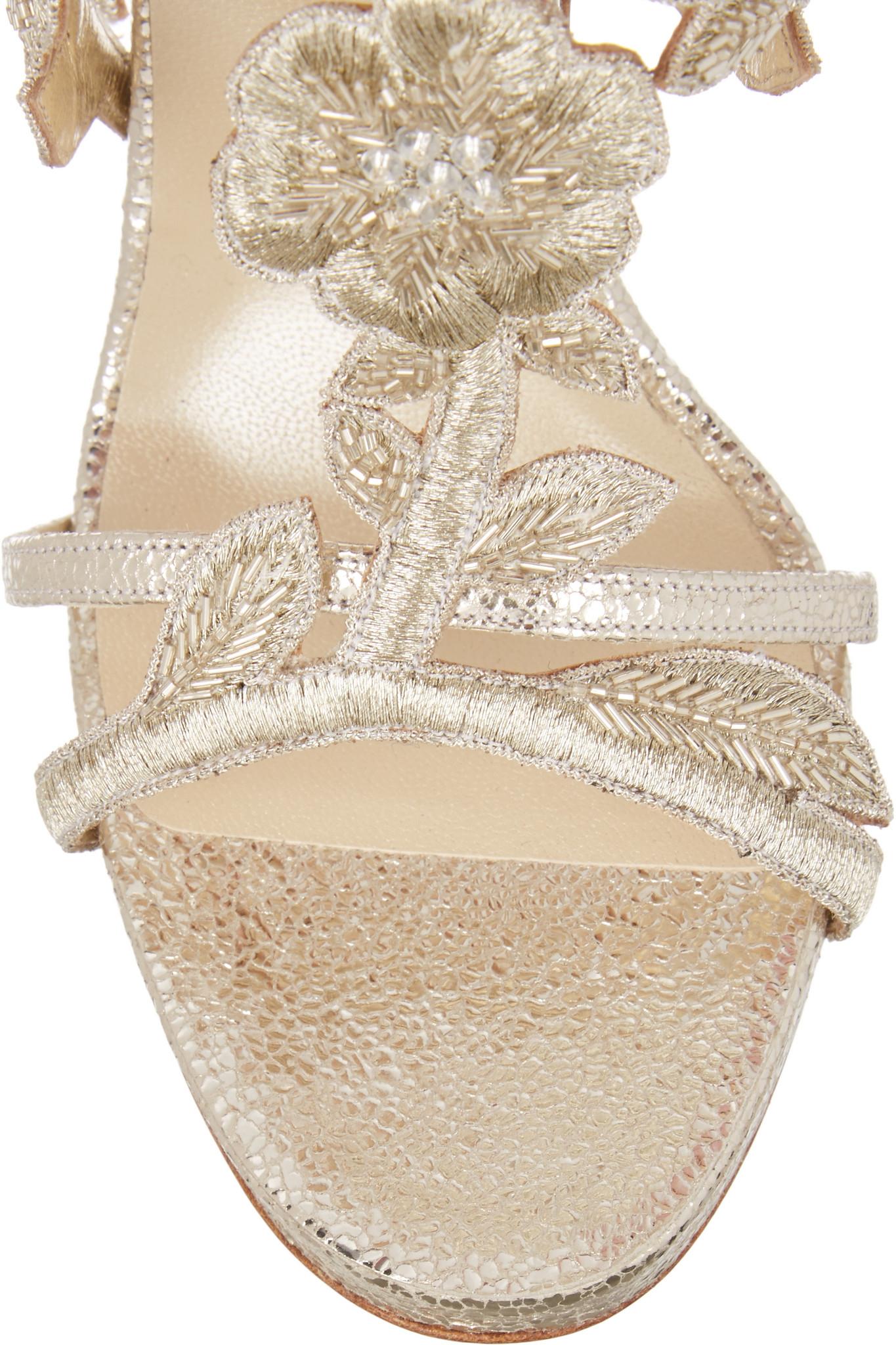 fd3d21110ae1 Lyst - Oscar de la Renta Tatum Embellished Metallic Cracked-leather ...