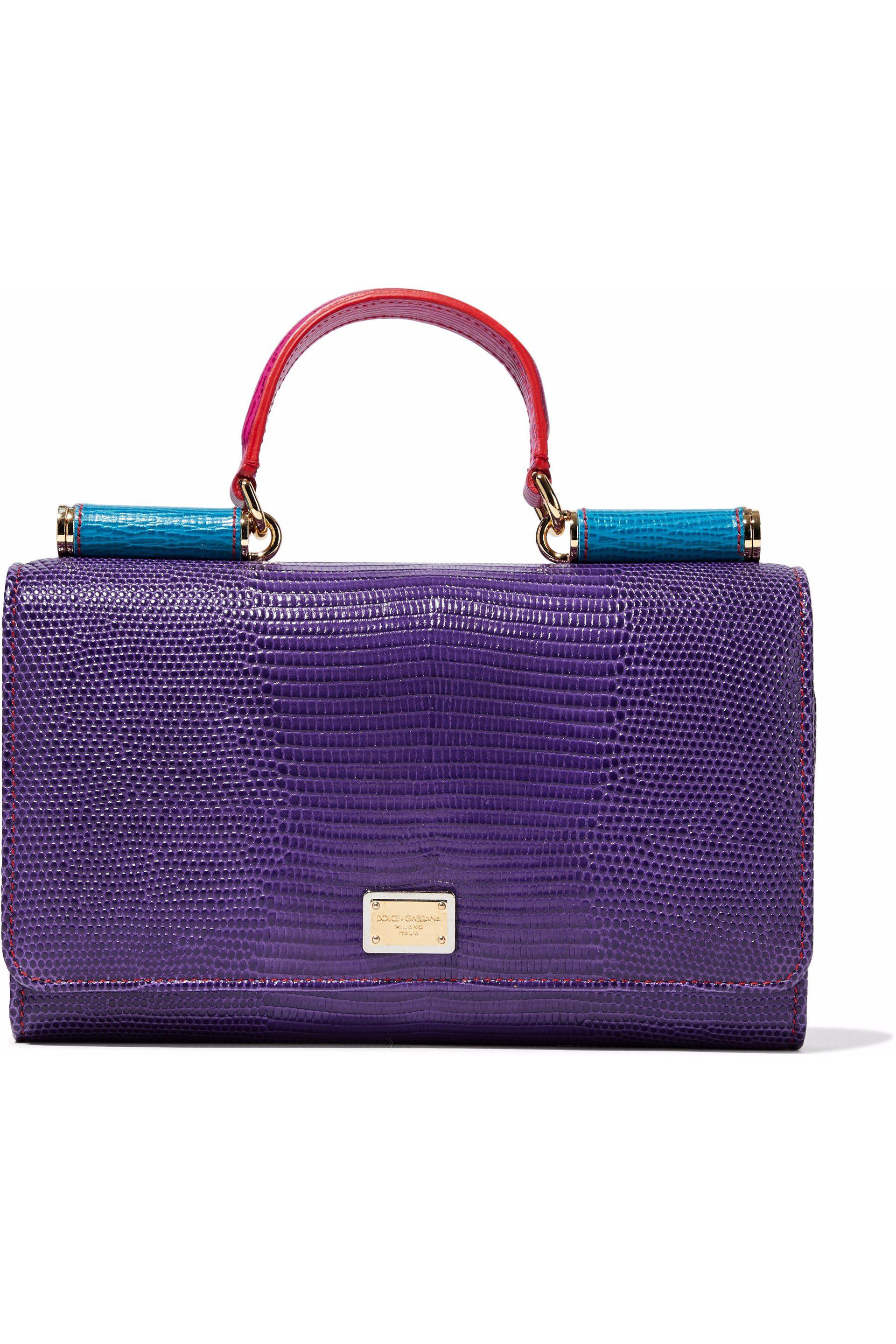 Lyst - Dolce   Gabbana Color-block Textured-leather Phone Case in Purple c2ceff86b1