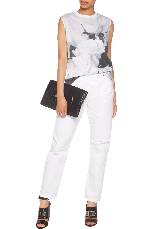 McQ Denim Distressed Boyfriend Jeans in White