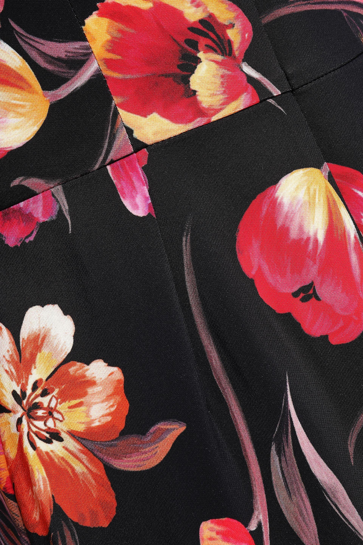 264ec7da87 Goat Woman Floral-print Stretch-knit Midi Dress Black in Black - Lyst