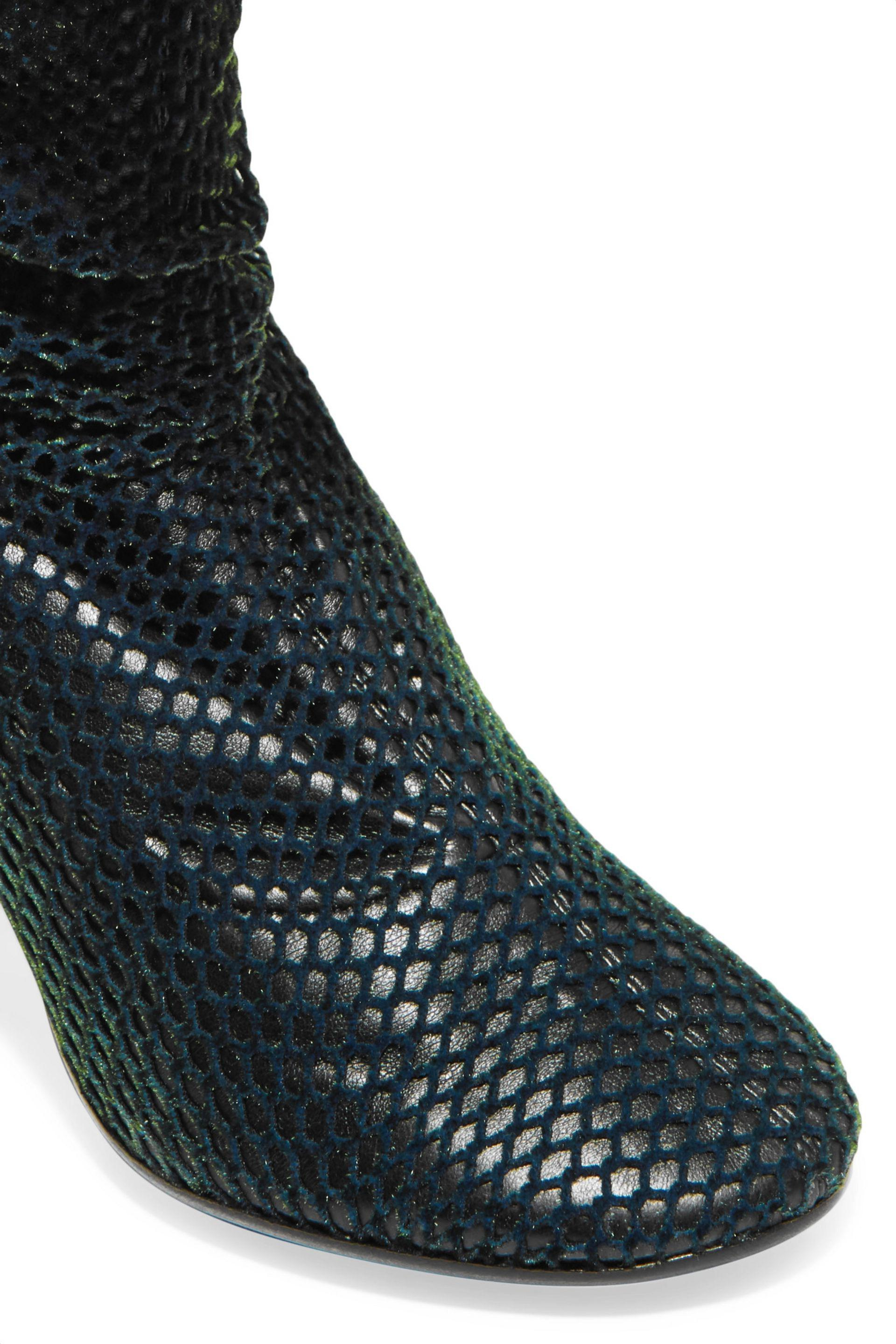 MM6 by Maison Martin Margiela Velvet-mesh And Leather Thigh Boots Dark Green