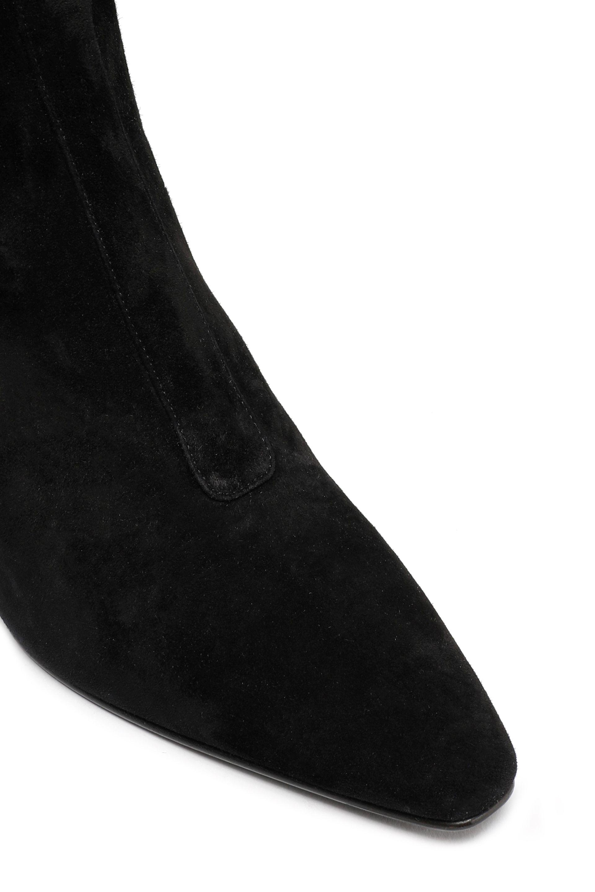 Roger Vivier Patent Leather-trimmed Suede Boots Black