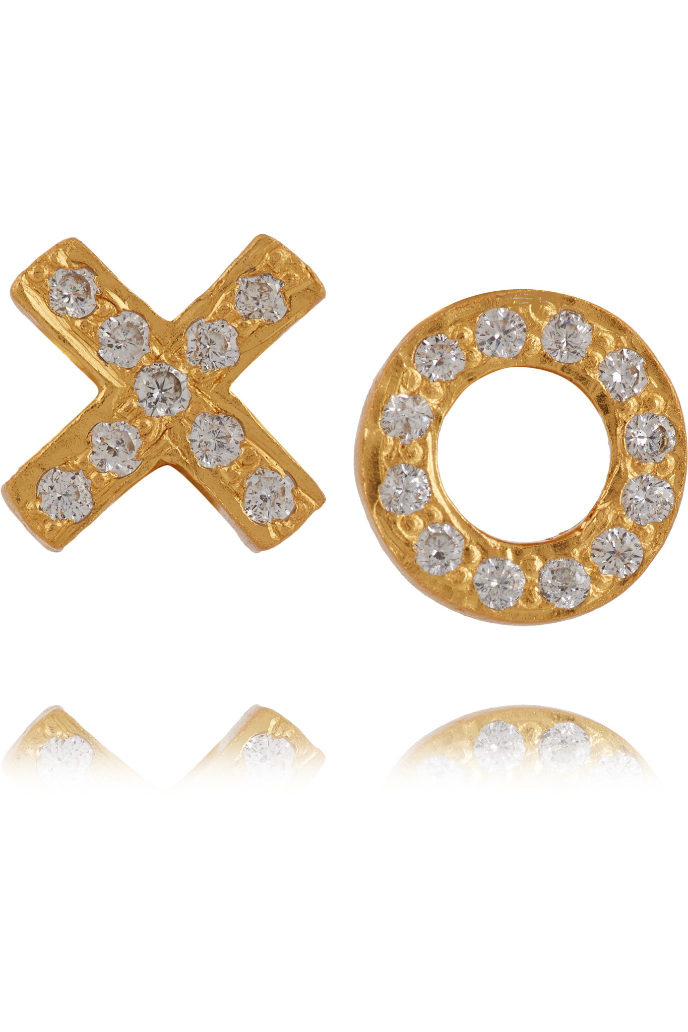kevia gold plated cubic zirconia earrings in metallic lyst