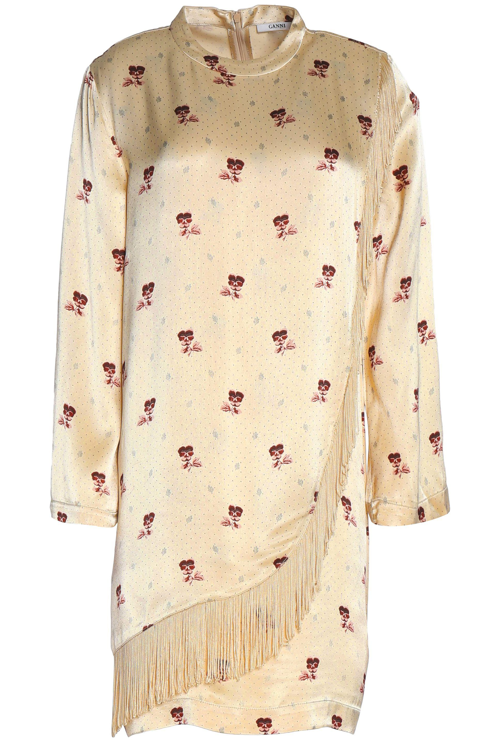 Ganni Woman Donnelly Fringed Floral-print Satin Shirt Beige Size 42 Ganni Sale Get To Buy Outlet The Cheapest Cheap Sale Genuine D10zVhvUC