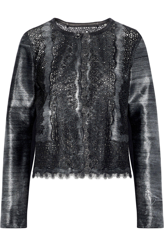 1e192b56181 Elie Tahari Woman Karlene Laser-cut Metallic Calf Hair Jacket Black ...