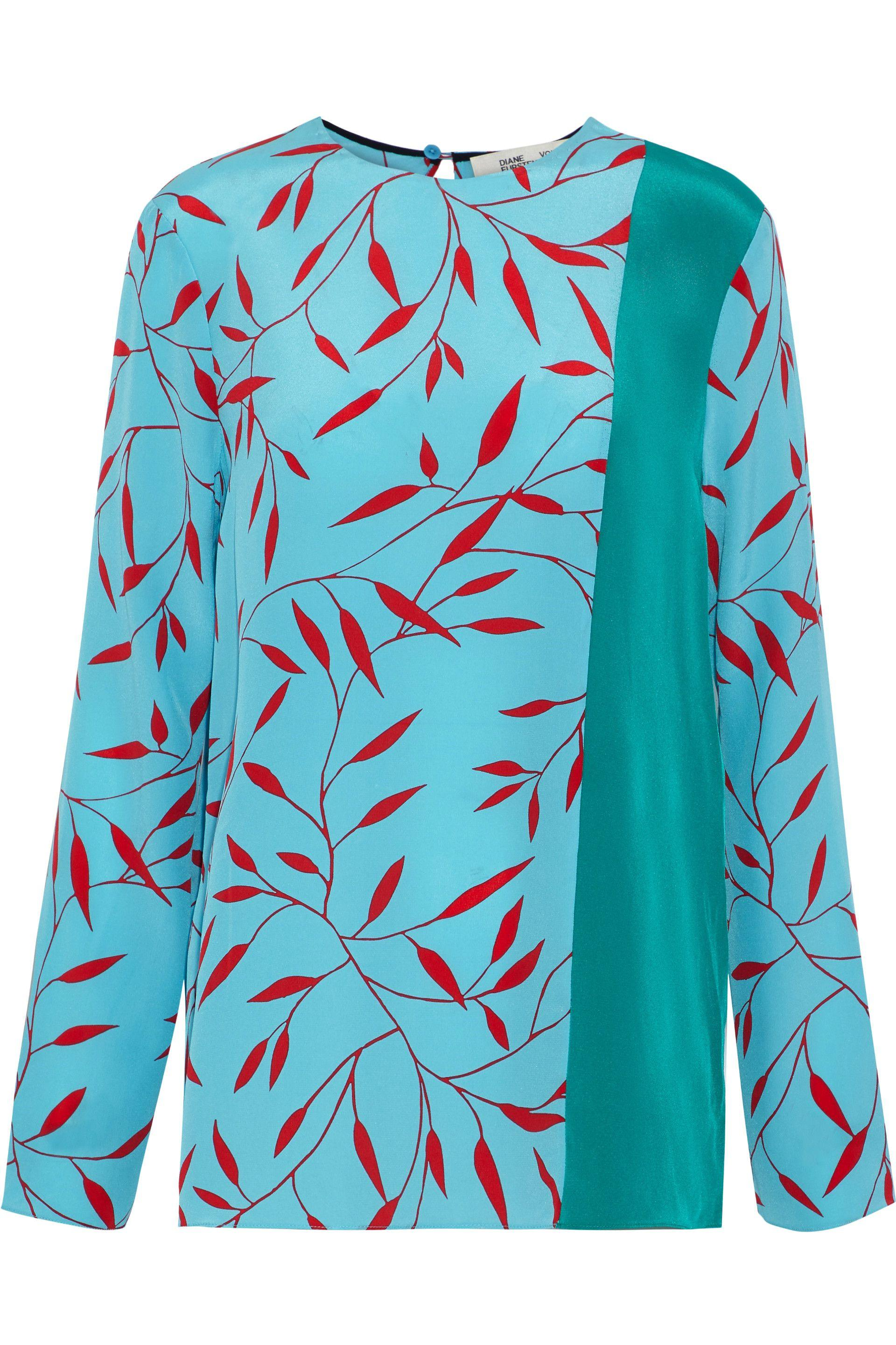 ebeef2b0939d6 Diane von Furstenberg. Women s Woman Floral-print Silk Crepe De Chine Top  Light Blue