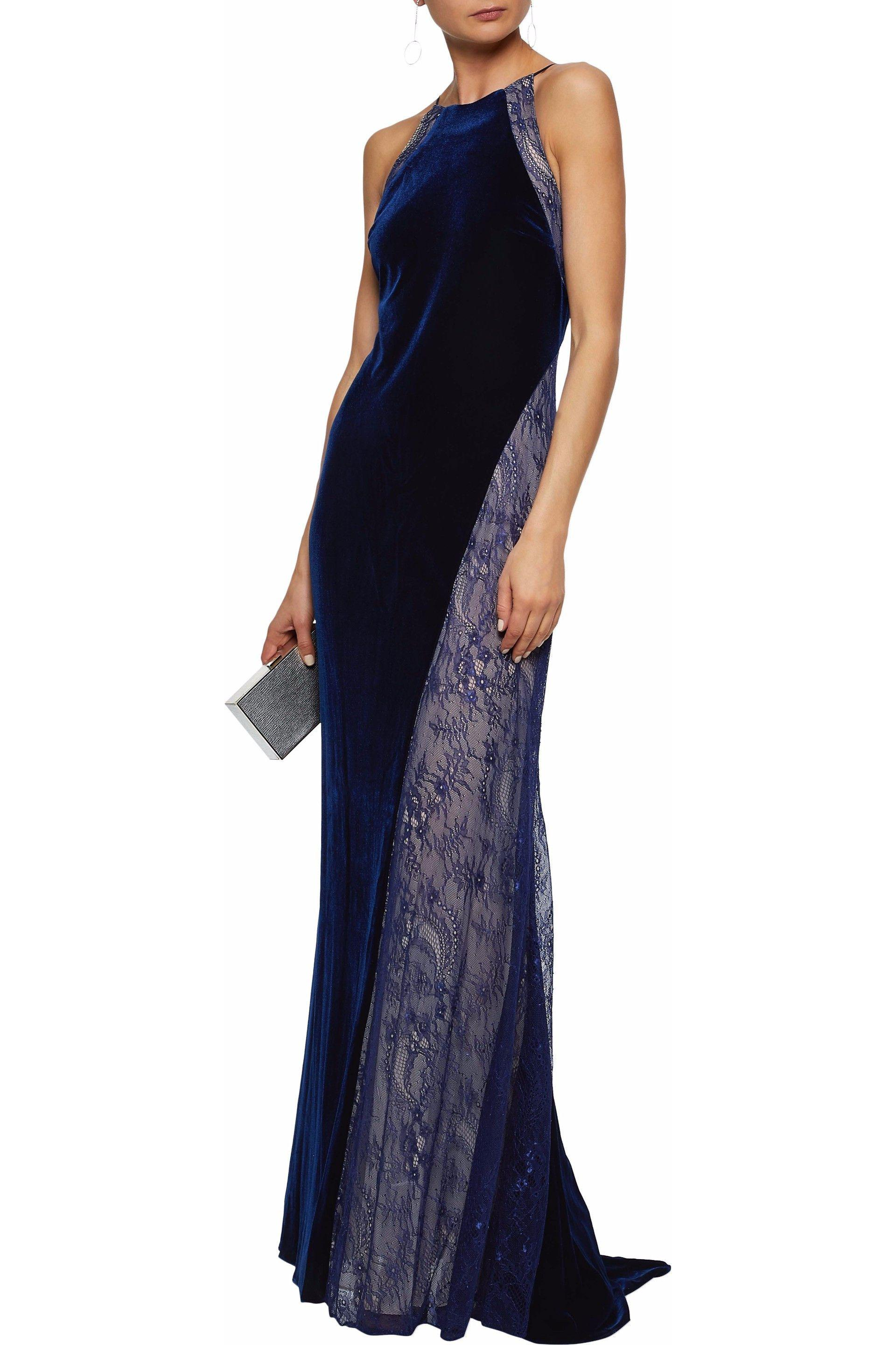 Badgley Mischka Lace-paneled Fluted Velvet Gown in Blue - Lyst