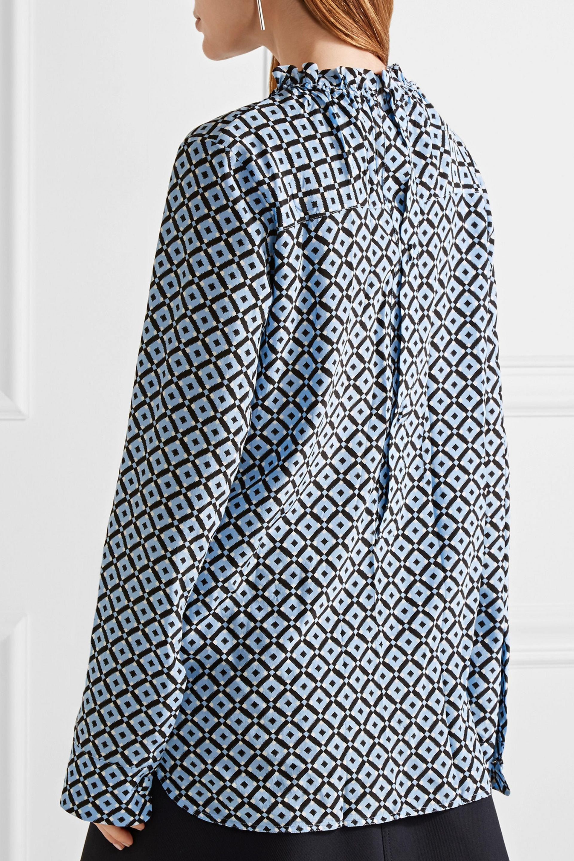 Marni Shirt In Silk Crepe Tracery Print in Blue