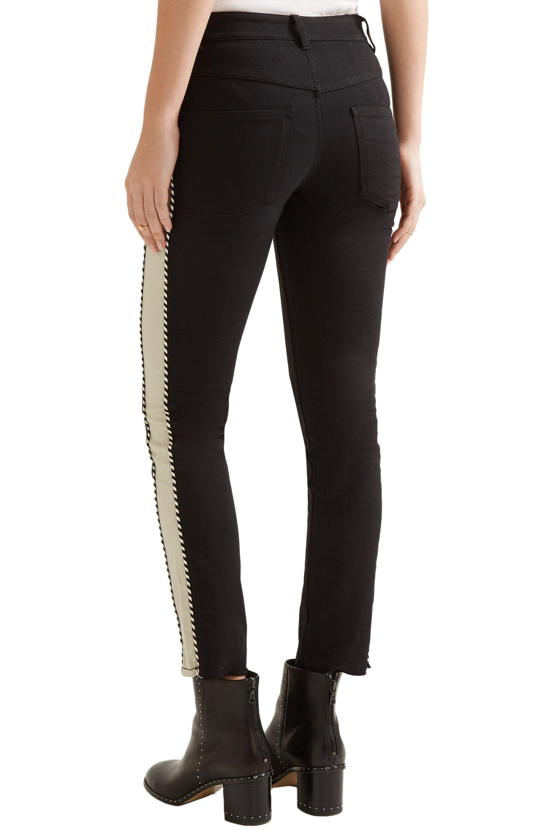 Étoile Isabel Marant Denim Haven Striped Mid-rise Straight-leg Jeans in Black