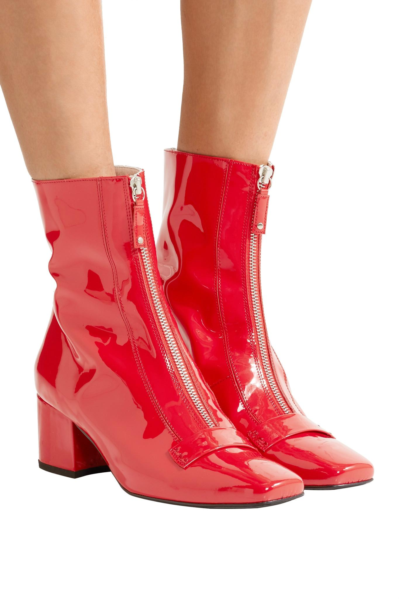 Dorateymur Double Delta Patent-leather Ankle Boots in Red