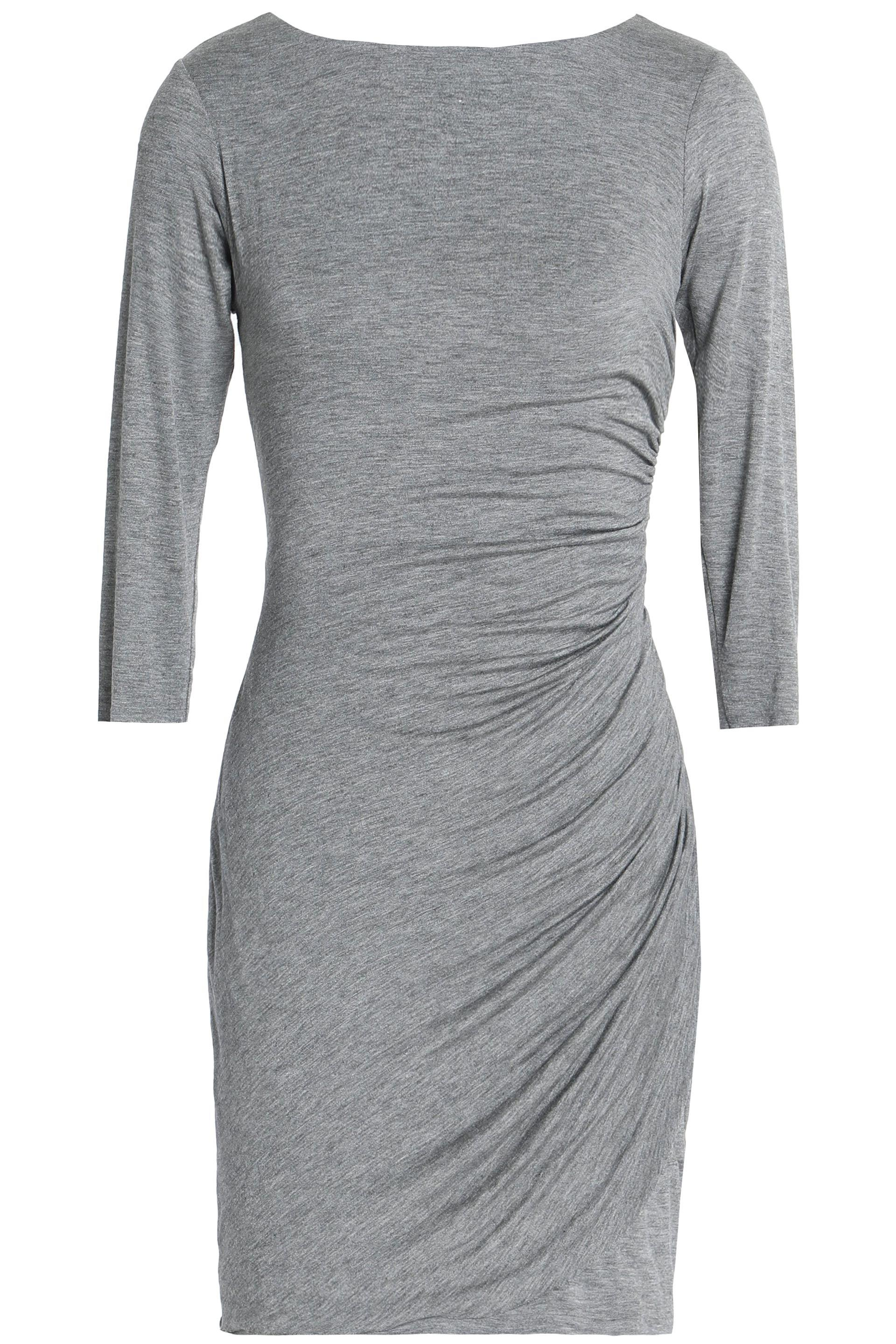 744e96016be Bailey 44 Twist-back Ruched Stretch-jersey Mini Dress in Gray - Lyst