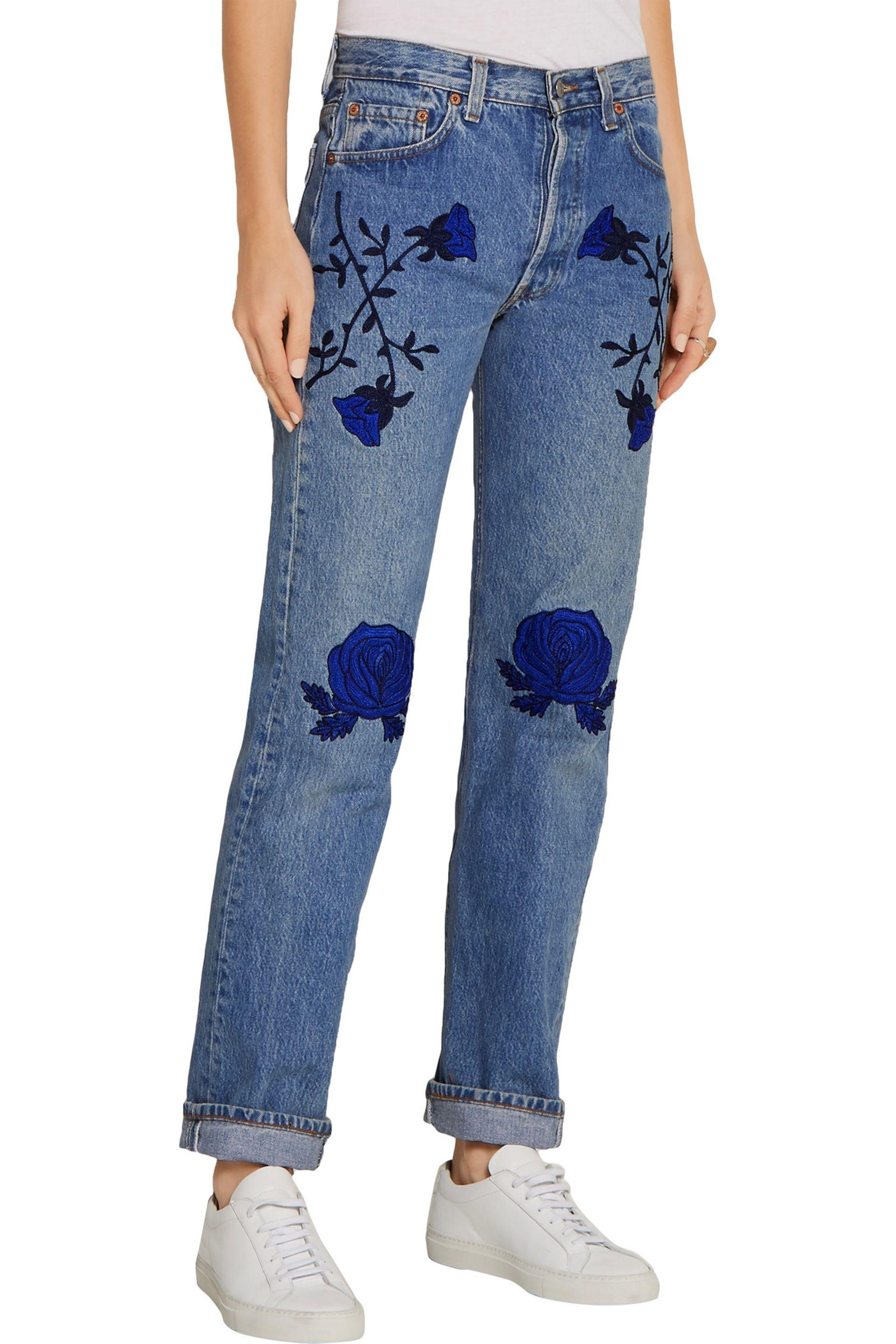 Bliss and Mischief Conjure Embroidered Mid-rise Straight-leg Jeans Mid Denim Size 25 in Blue