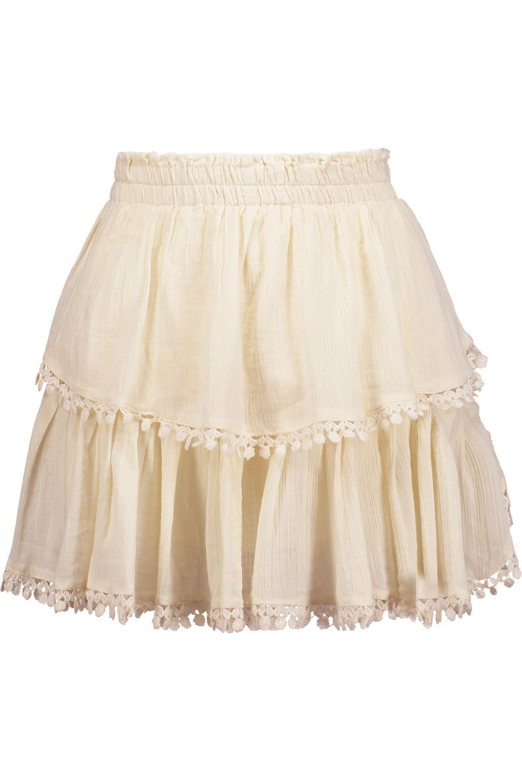 LoveShackFancy. Women's Natural Embroidered Pleated Cotton-gauze Mini Skirt