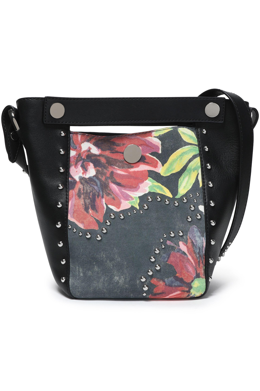 3.1 Phillip Lim Woman Studded Paneled Floral-print Leather Bucket Bag Black Size 3.1 Phillip Lim ScKutf0