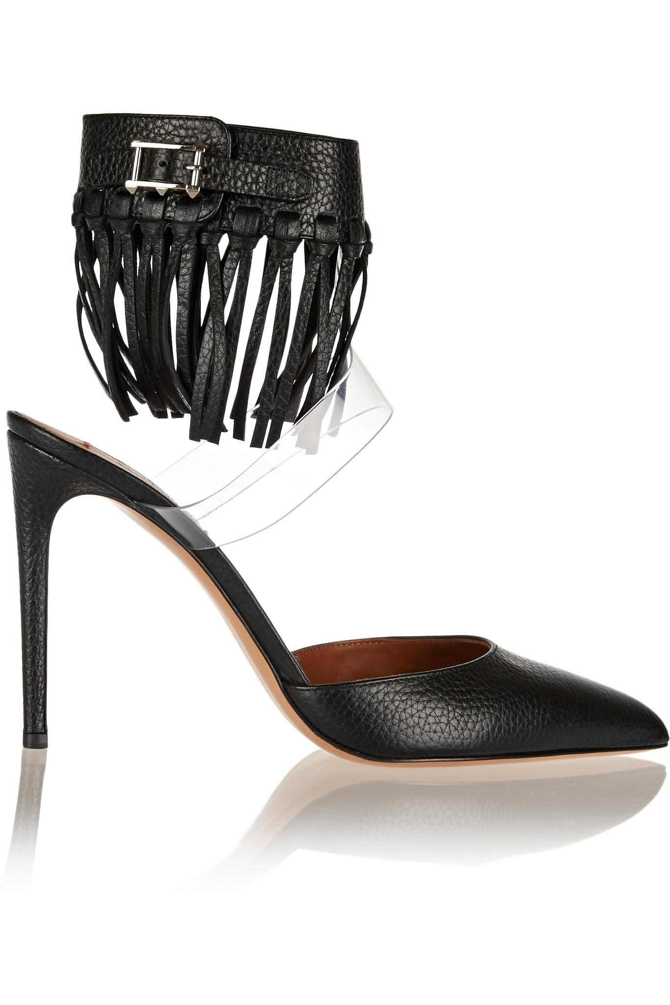 VALENTINO Fringed textured leather and PVC pumps Black Woman