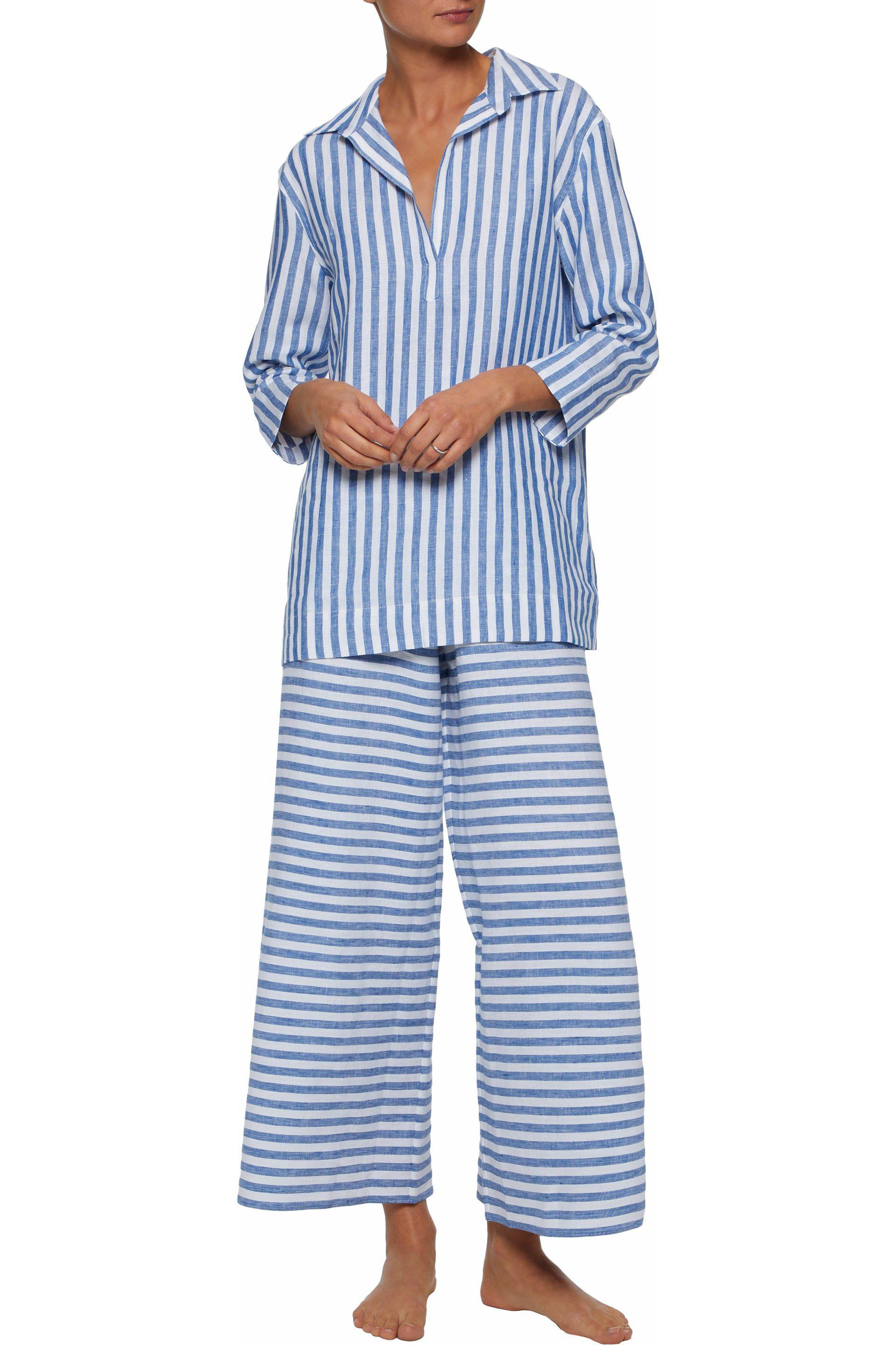 Sleepy Jones Woman Striped Linen Pajama Pants Light Blue Size XL Sleepy Jones Order Cheap Online AzWKAP