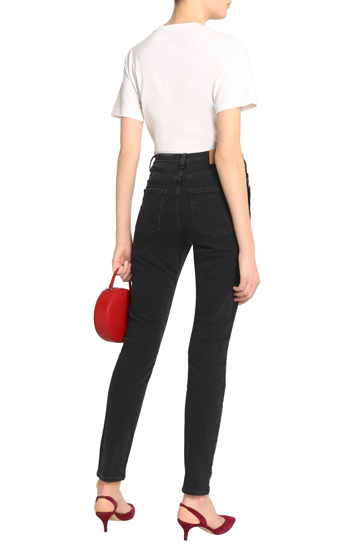 ALEXACHUNG Denim Woman Mid-rise Skinny Jeans Black