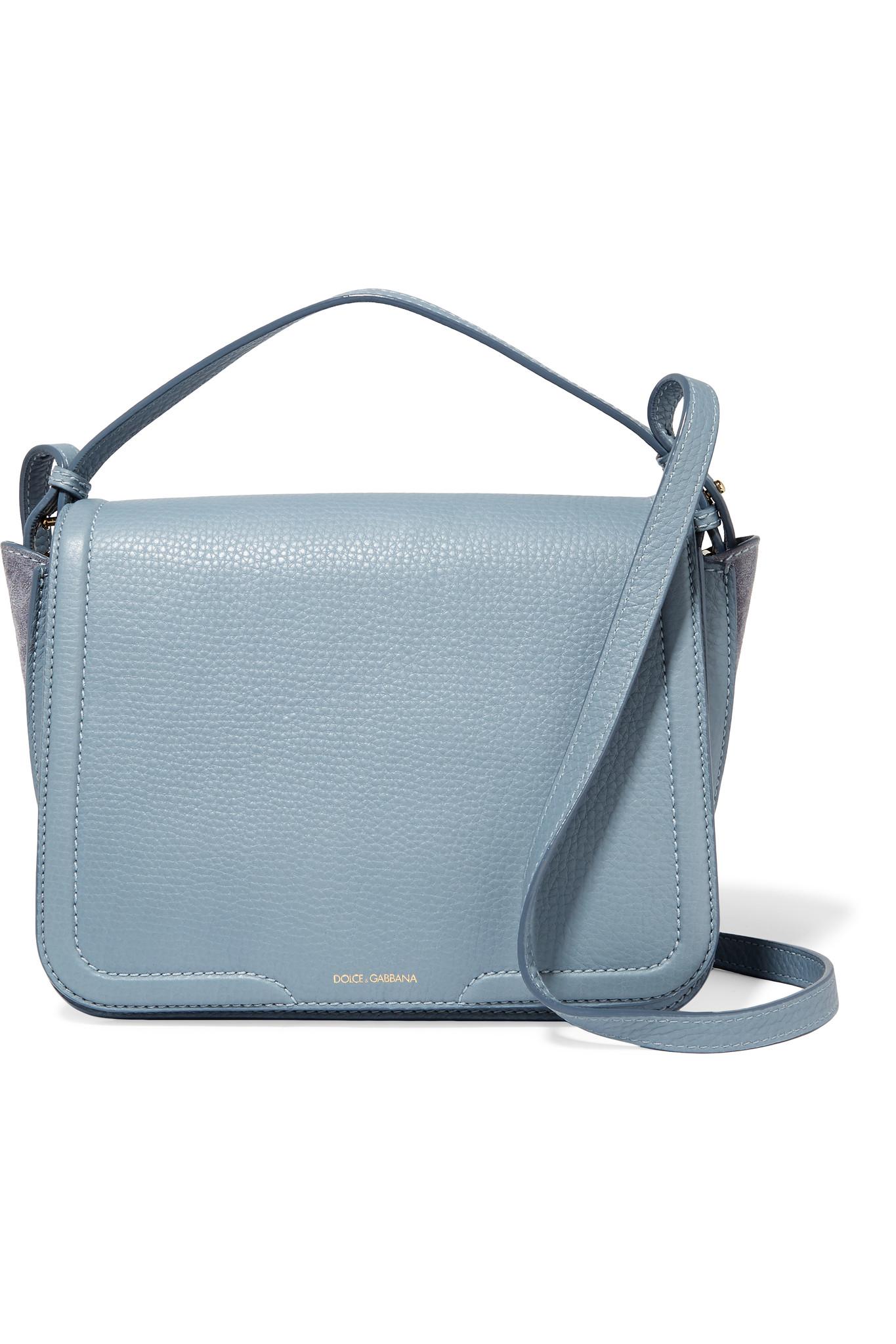 40824909024a Lyst - Dolce   Gabbana Suede-paneled Textured-leather Shoulder Bag ...