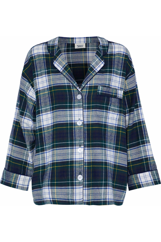Outlet Cheap Price Buy Cheap Online Sleepy Jones Woman Checked Cotton-flannel Pajama Shirt Navy Size XL Sleepy Jones b077C6BEc