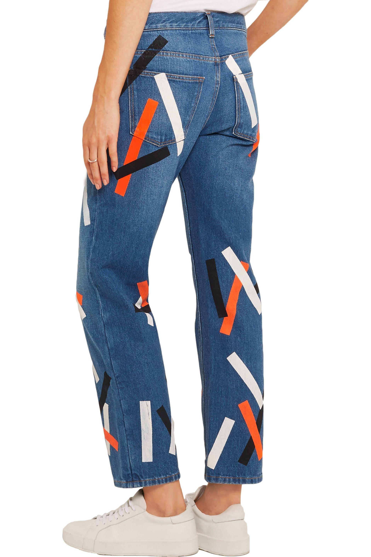 Christopher Kane Denim Taped Mid-rise Wide-leg Jeans in Mid Denim (Blue)