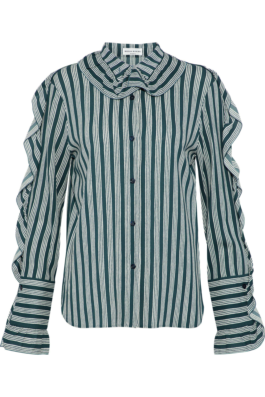 Sonia Rykiel Woman Ruffle-trimmed Striped Crepe Shirt Petrol Size 44 Sonia Rykiel Sast Sale Online Free Shipping Great Deals Super TDEfX6ZvEw