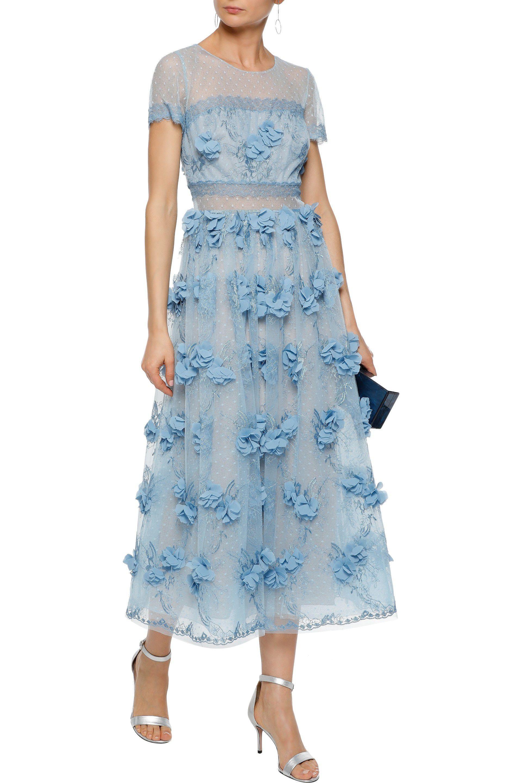51389324e0a42 Marchesa notte - Woman Floral-appliquéd Point D esprit Midi Dress Sky Blue  -. View fullscreen