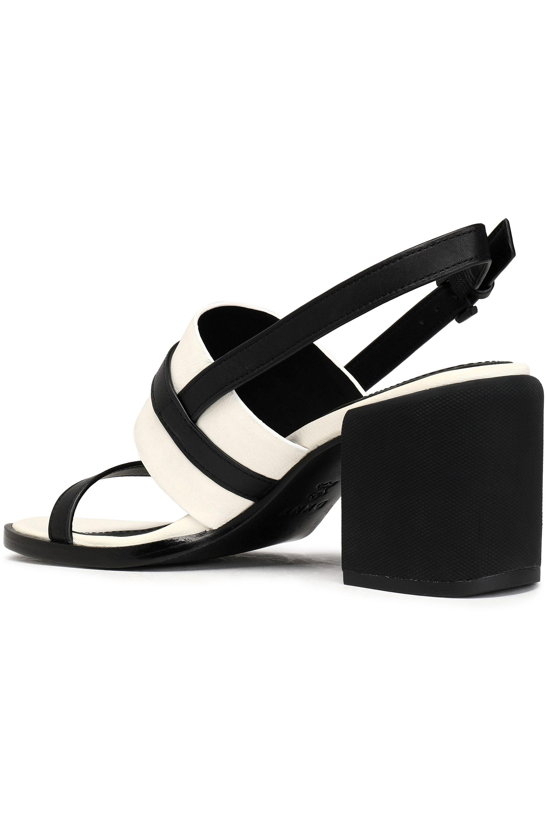 d25a78a15648 DKNY Two-tone Leather Slingback Sandals in Black - Lyst