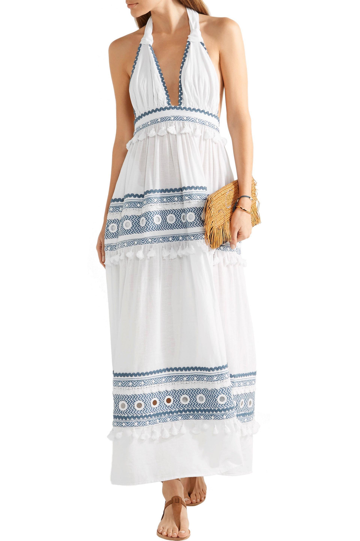 gasa maxi bordado adornado L vestido blanco gasa de mujer o Dodo talla de con bar largo gnwa7fqAf