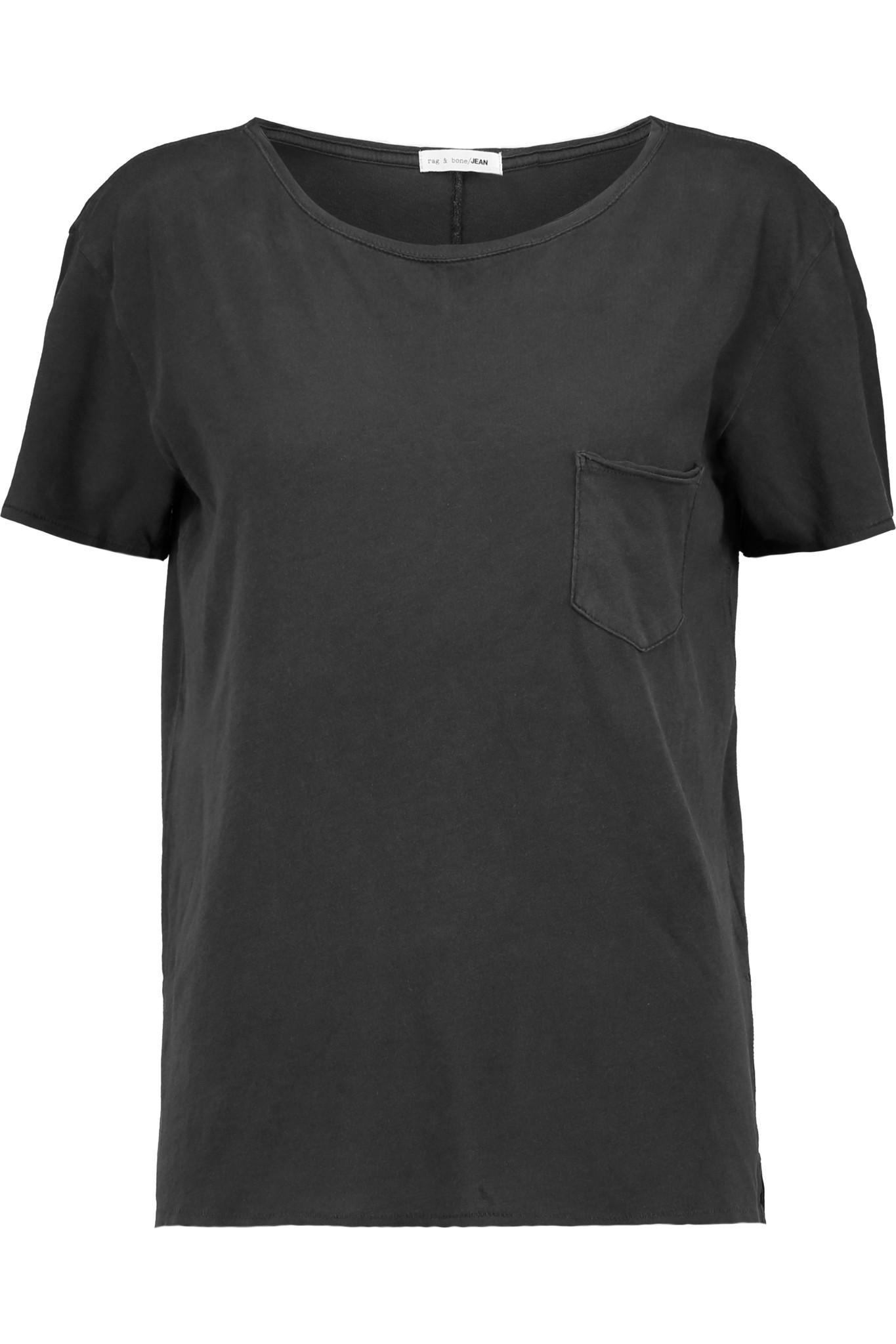 Rag bone x boyfriend cotton t shirt in black lyst for Rag and bone t shirts
