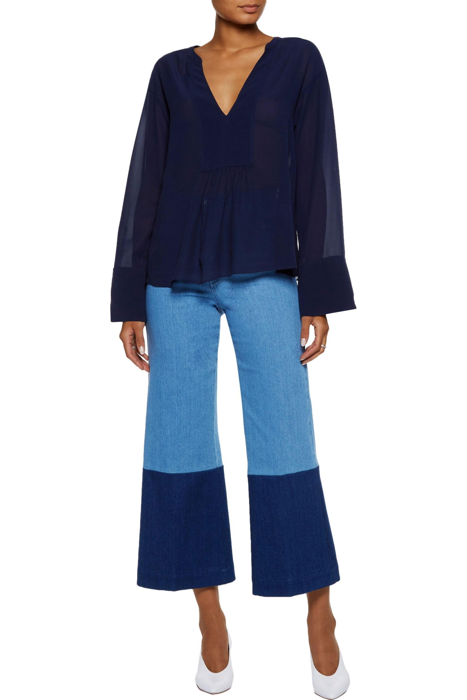 9443e00363ed1 Theory - Woman Matara Gathered Silk-georgette Blouse Midnight Blue - Lyst.  View fullscreen