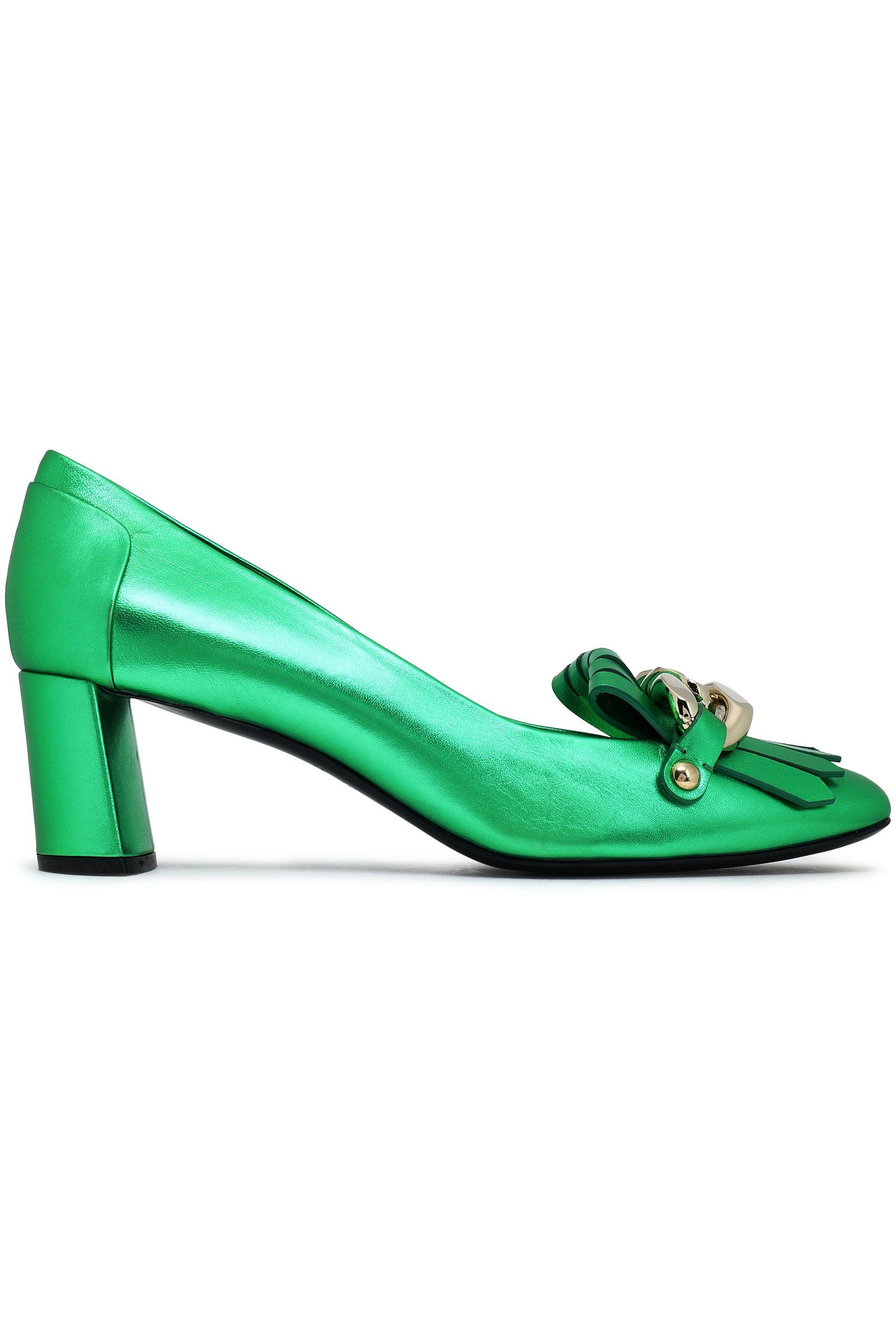 Casadei Woman Chain-embellished Fringed Metallic Leather Pumps Bright Green Size 36 Casadei z73ge
