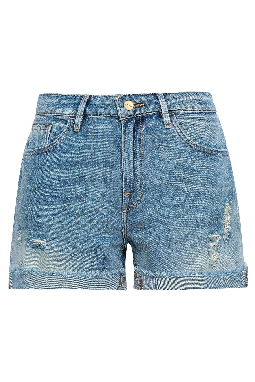 10991f0d3c FRAME - Blue Woman Le Grand Garcon Distressed Denim Shorts Mid Denim -  Lyst. View fullscreen