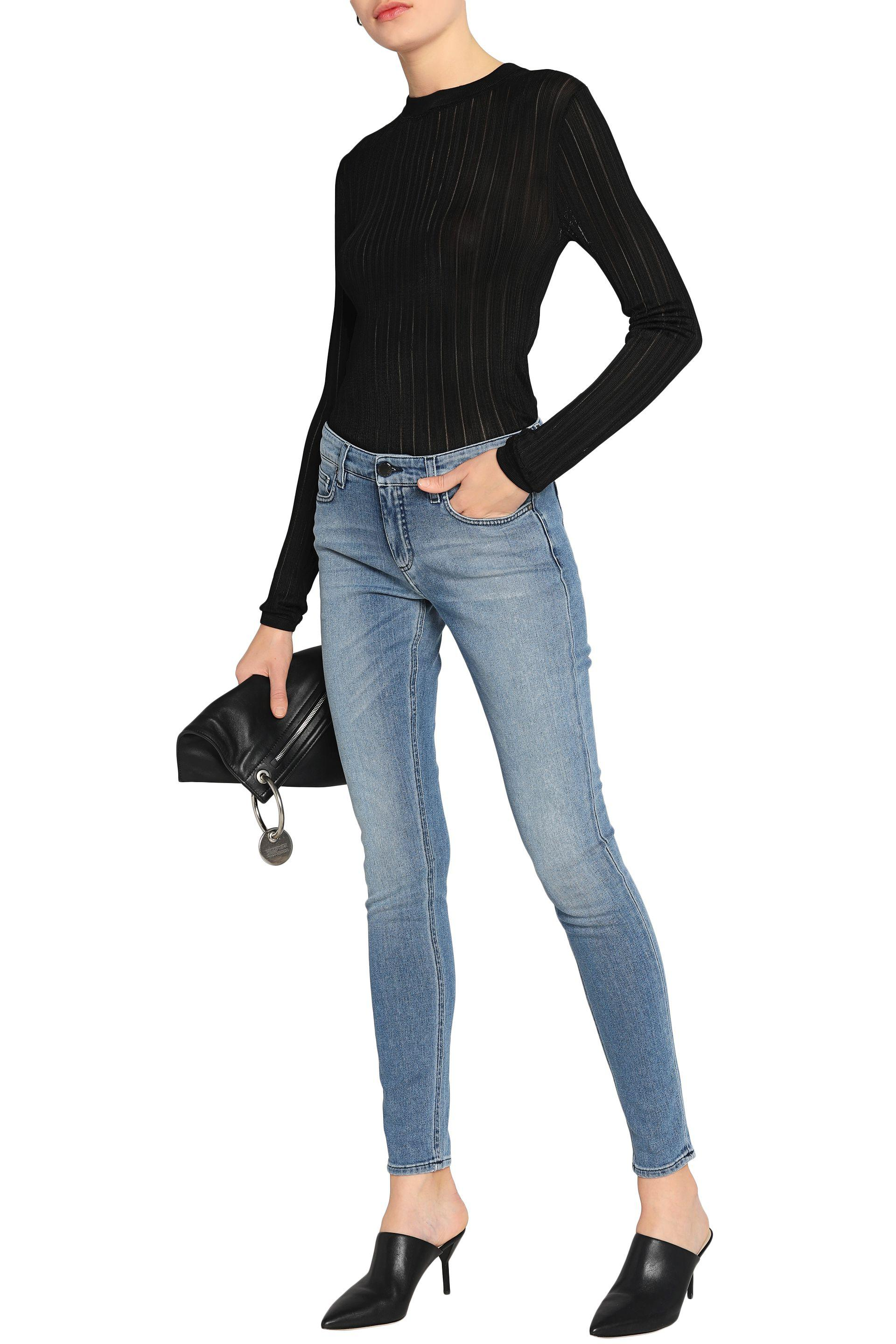 Victoria, Victoria Beckham Faded Mid-rise Skinny Jeans Light Denim in Blue